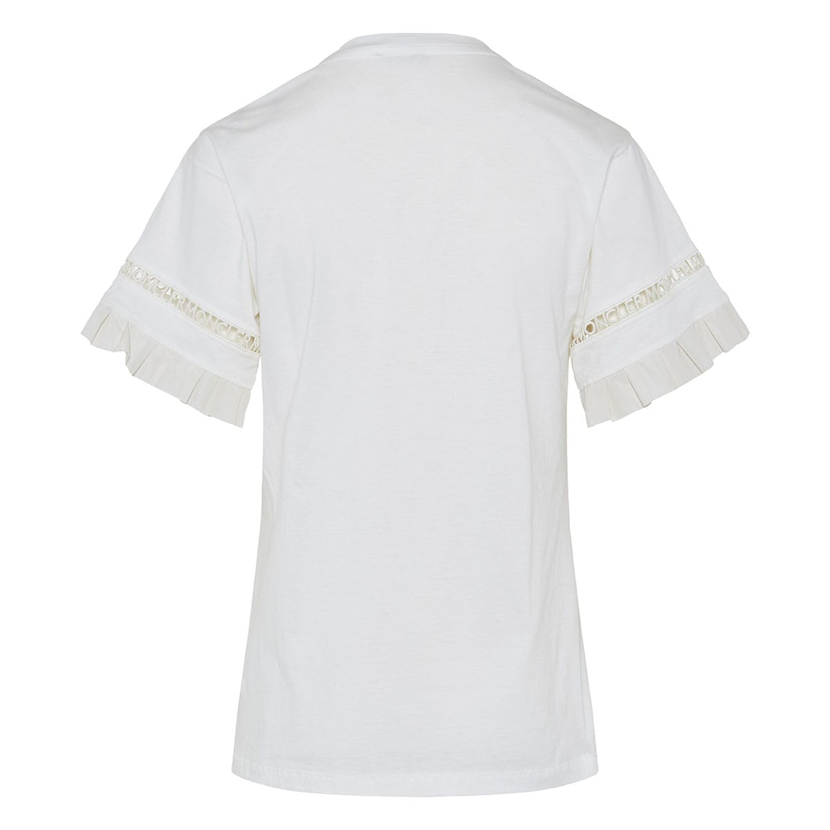 Frilled t-shirt with macrame logo