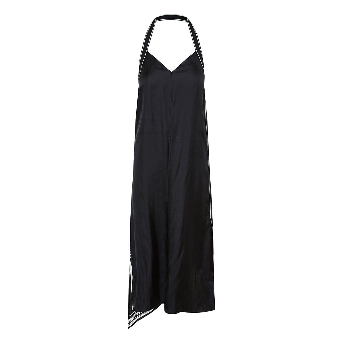 Isadora asymmetric printed halterneck dress