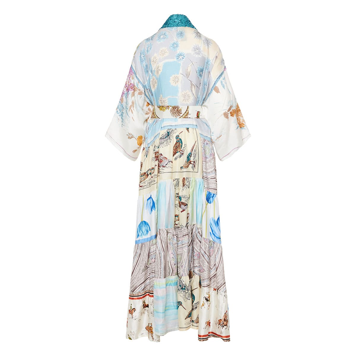 Sequin-trimmed patchwork printed kimono dress