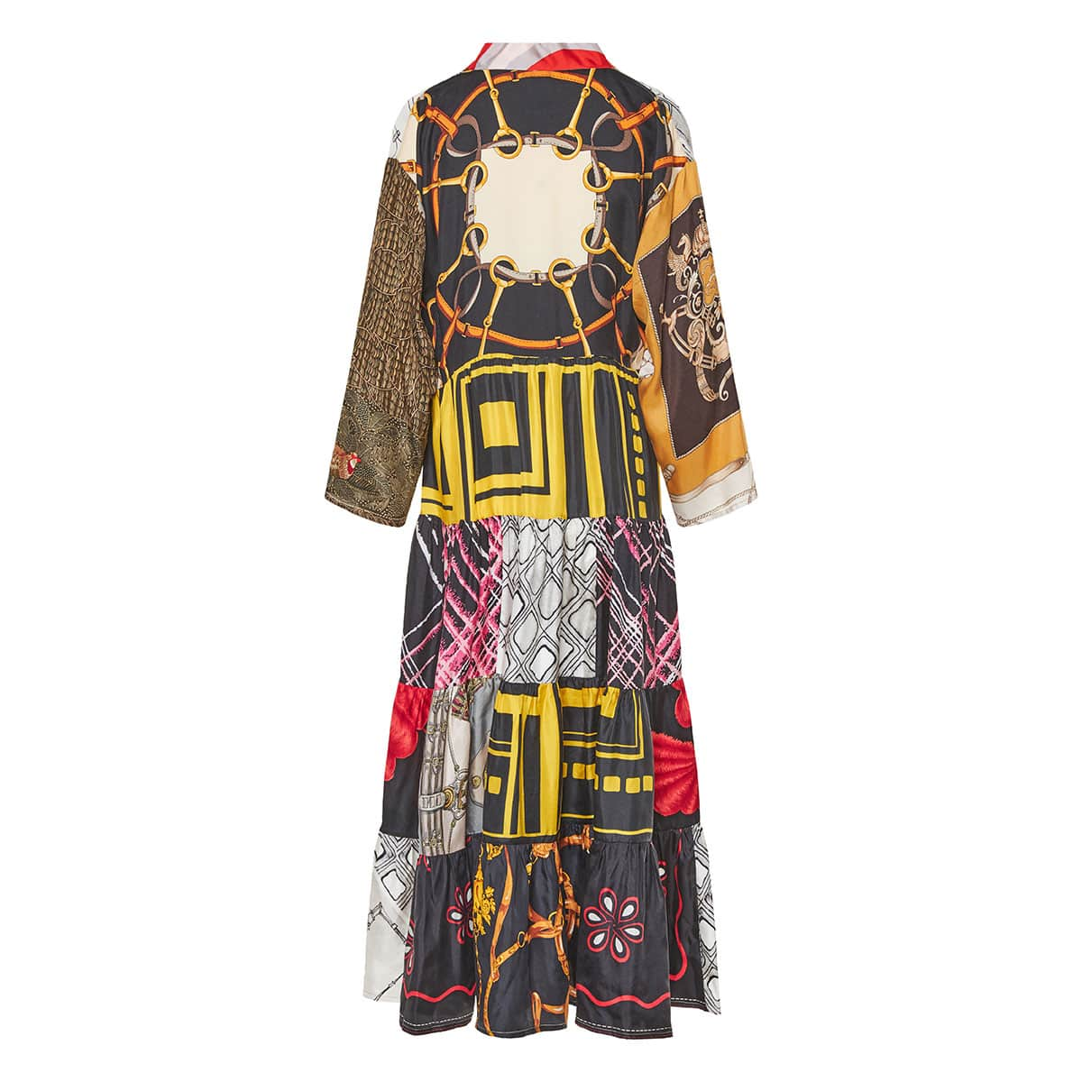 Patchwork printed long tiered kaftan dress