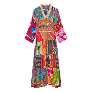 Patchwork printed long tiered kaftan dress