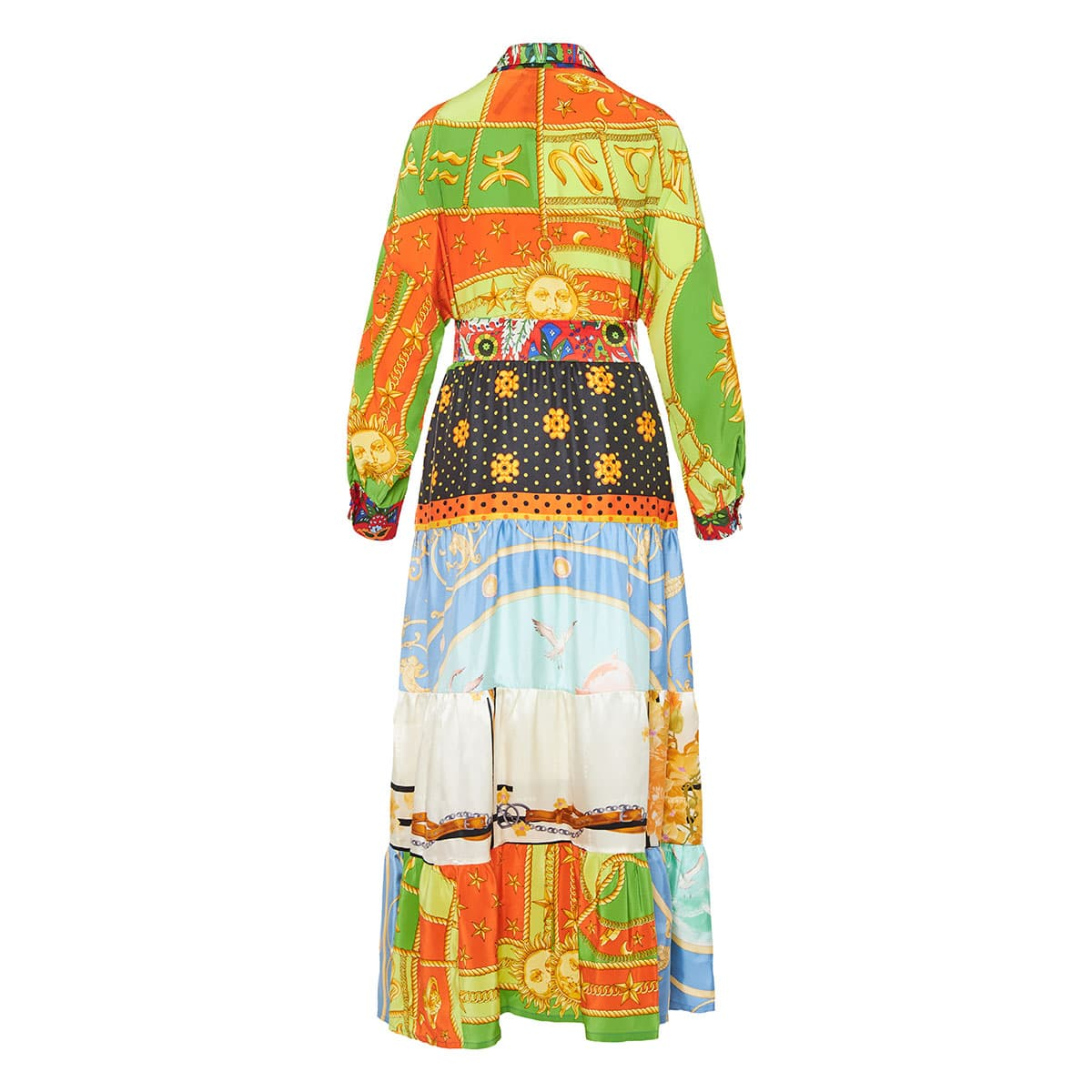 Patchwork printed long tiered shirt dress