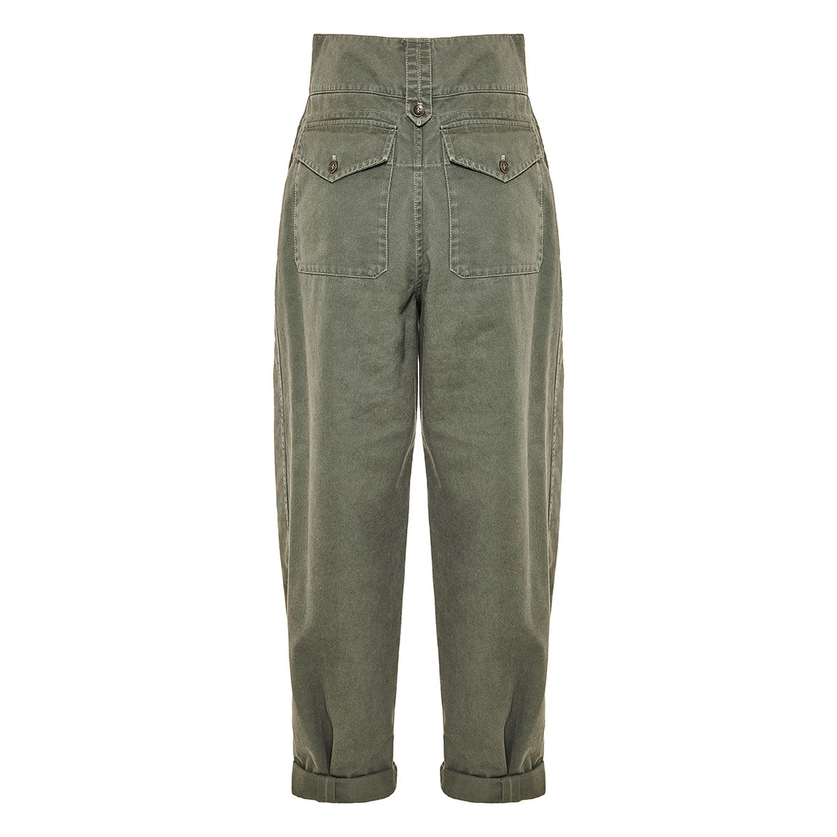 High-waist gabardine cargo trousers