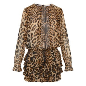 Crystal-embellished leopard ruffled mini dress