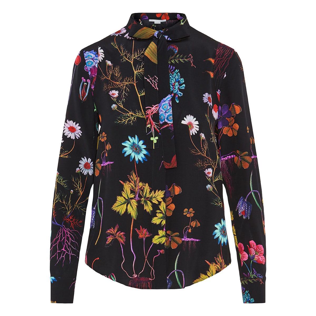 Bow-tie floral silk shirt