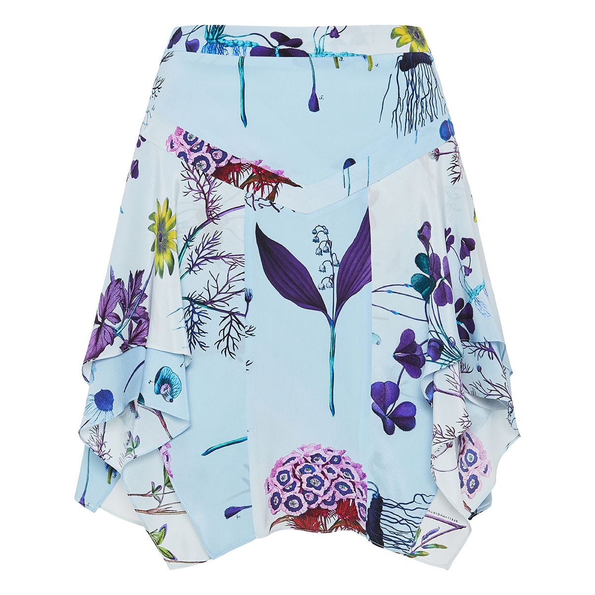 Asymmetric floral silk skirt