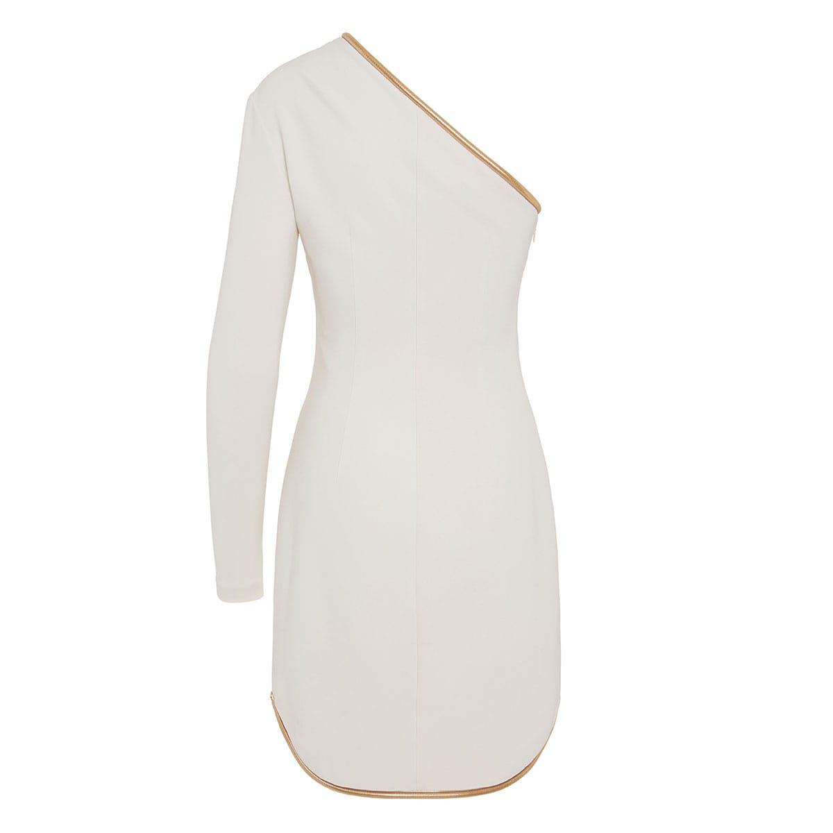 Dianna chain-trimmed one-sleeve mini dress