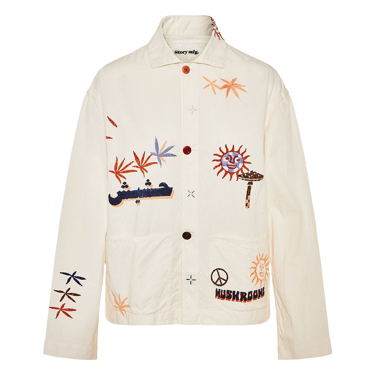 Short on Time oversized embroidered cotton jacket