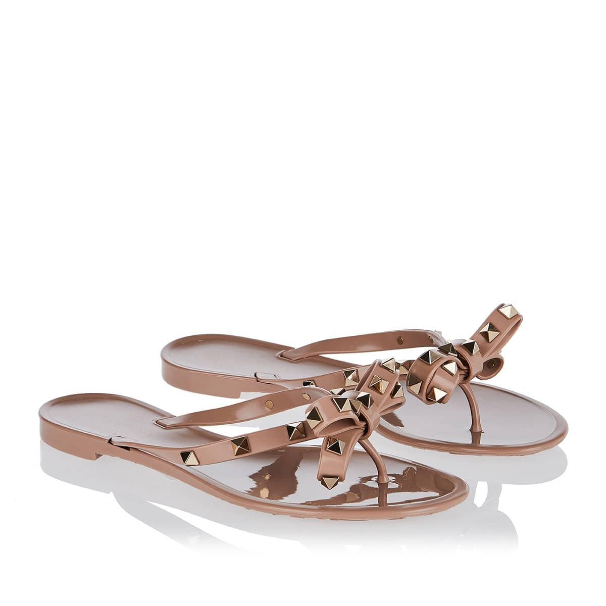 Rockstud bow pvc flat sandals