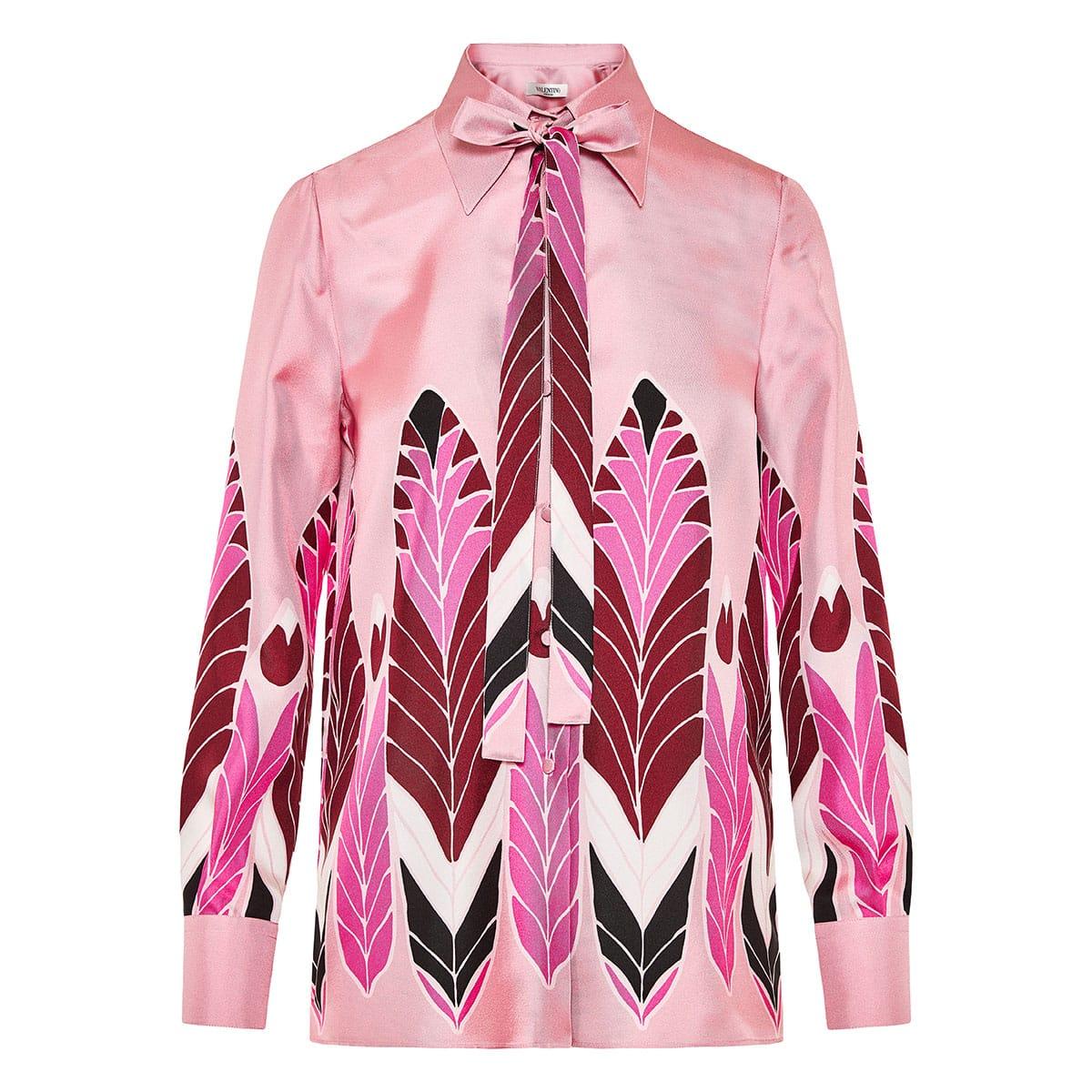 Bow-tie printed twill shirt