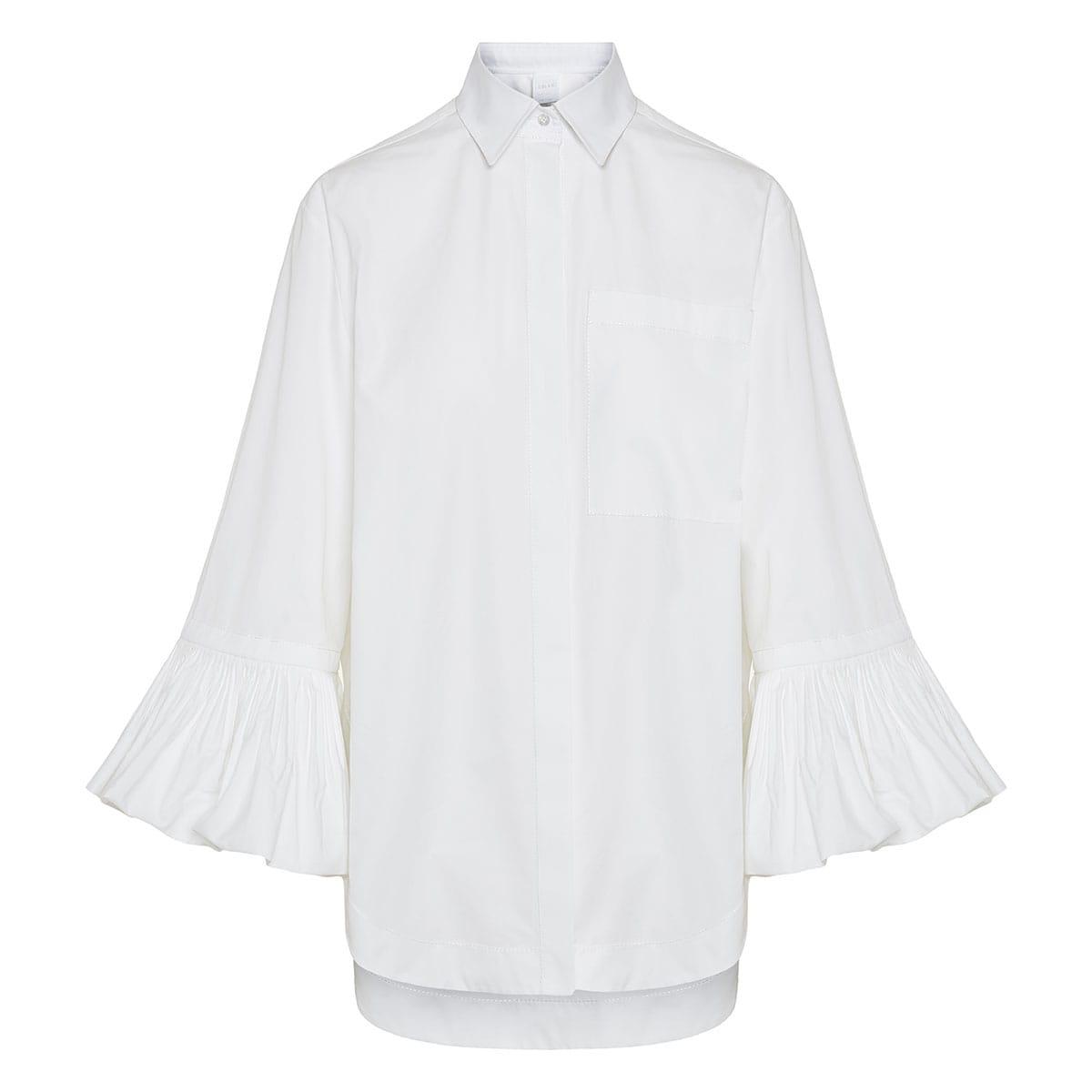 Oversized shirt with ruffled cuffs