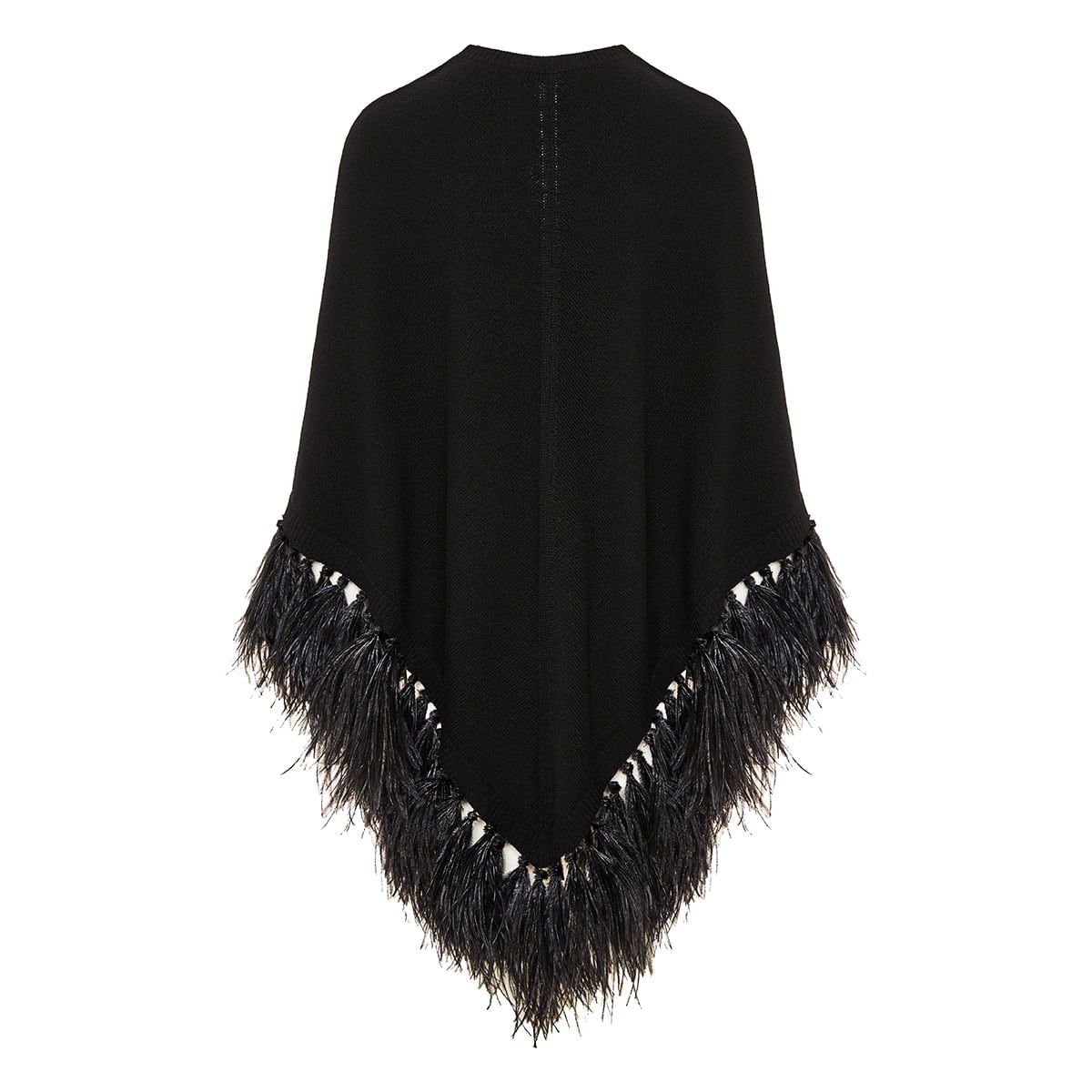 Feather-trimmed knitted poncho