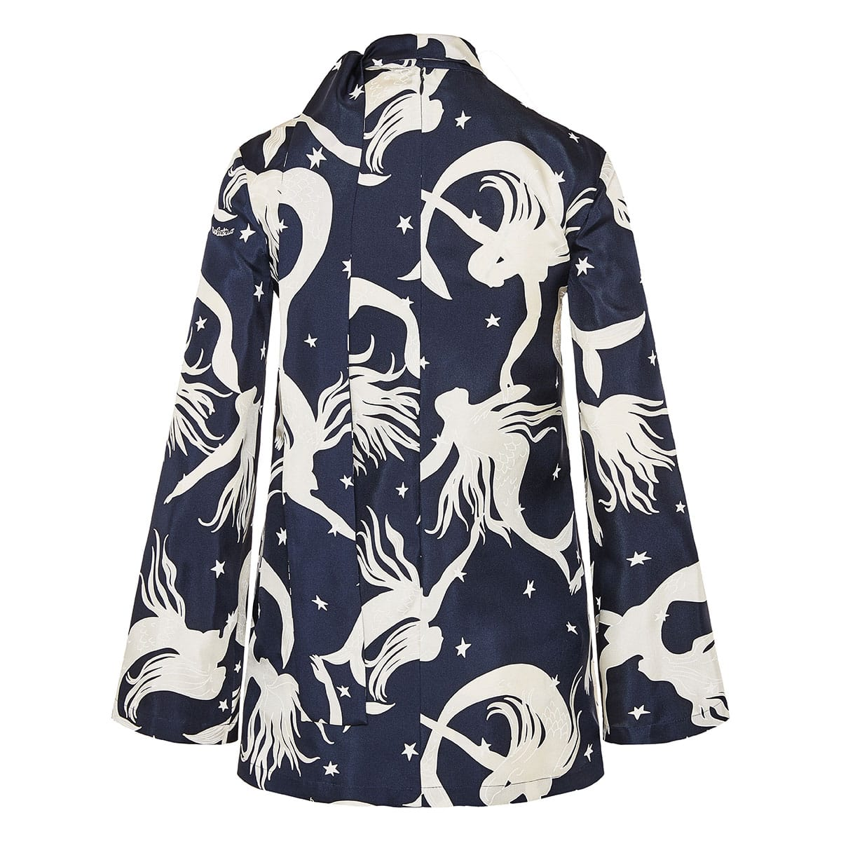 Bow-tie printed twill blouse