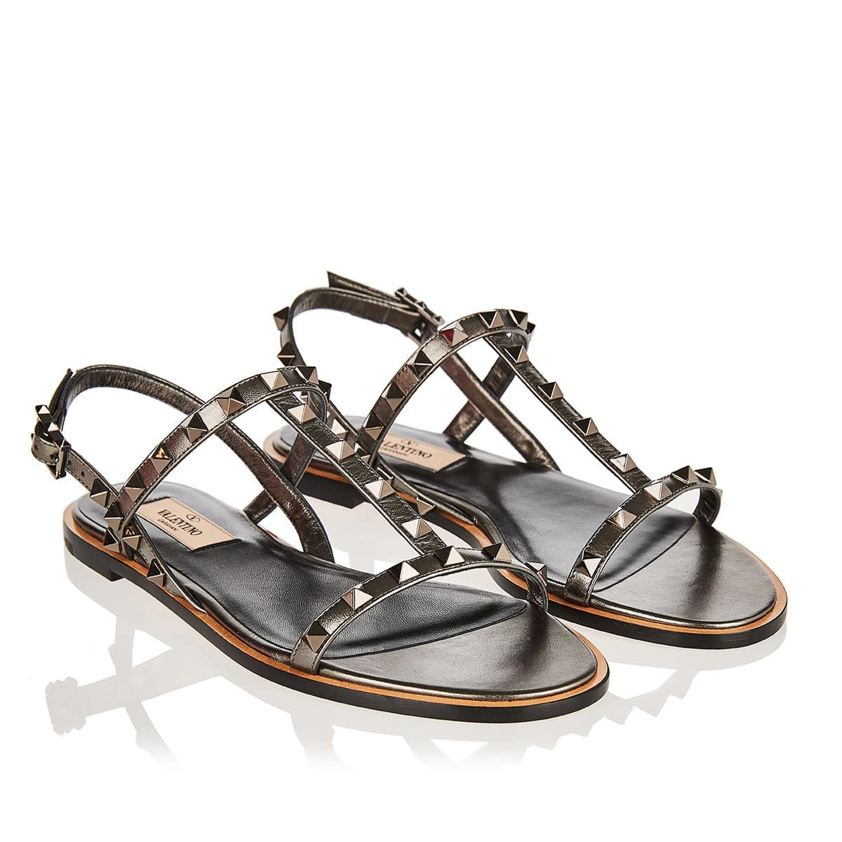 Rockstud flat metallic leather sandals