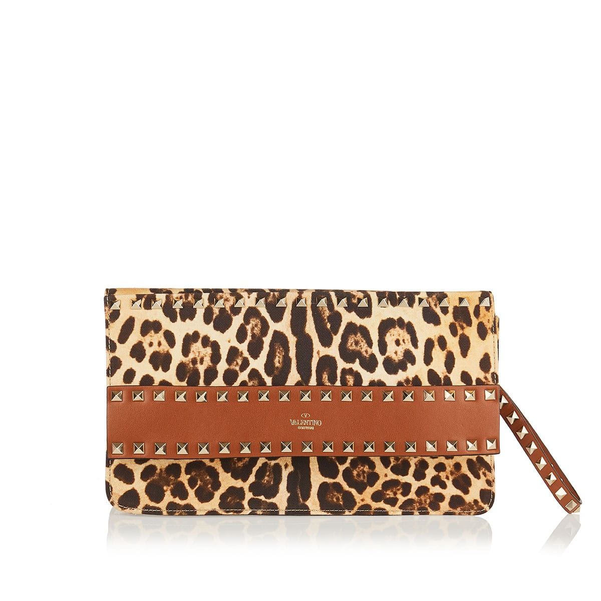 Rockstud leopard canvas and leather clutch