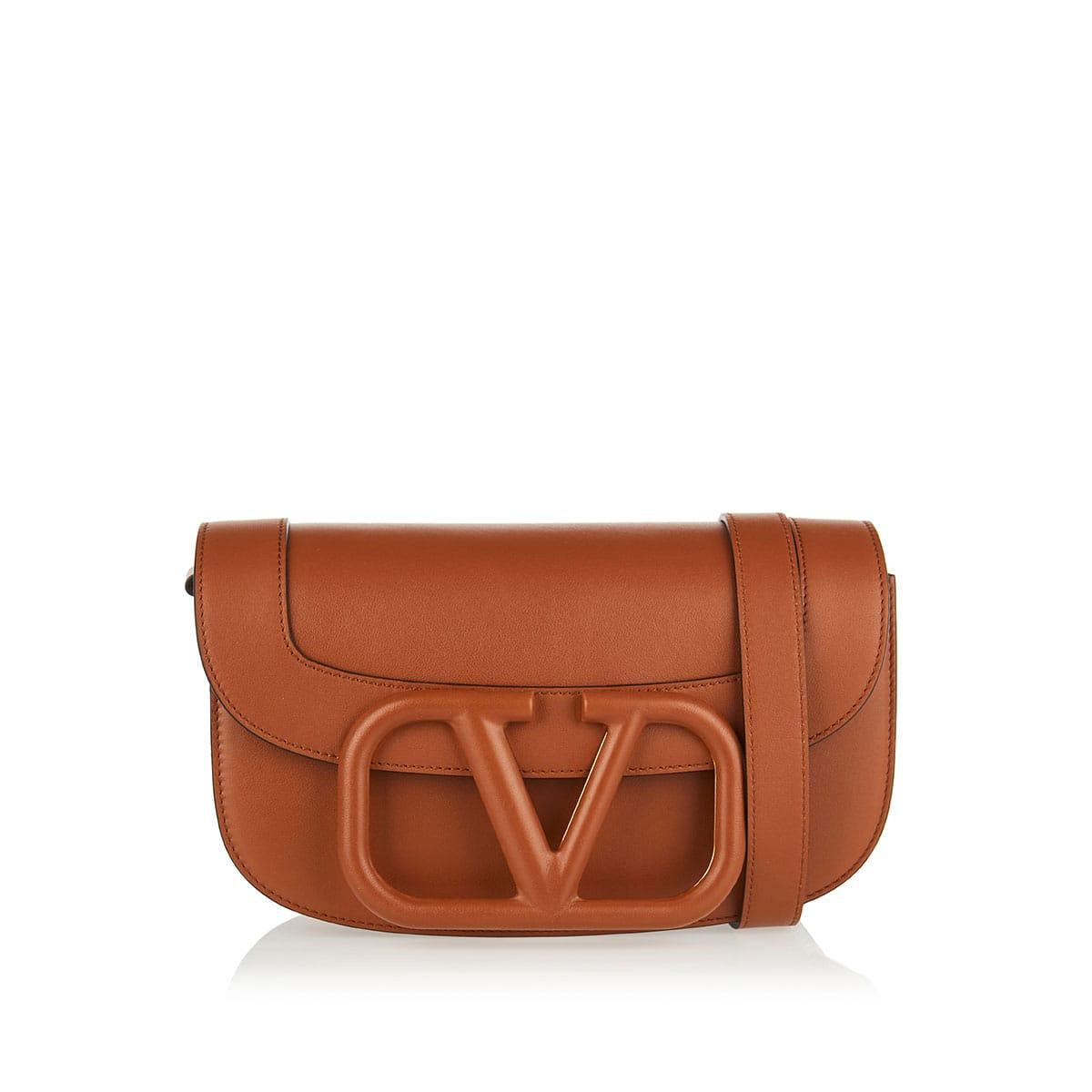 Supervee leather shoulder bag