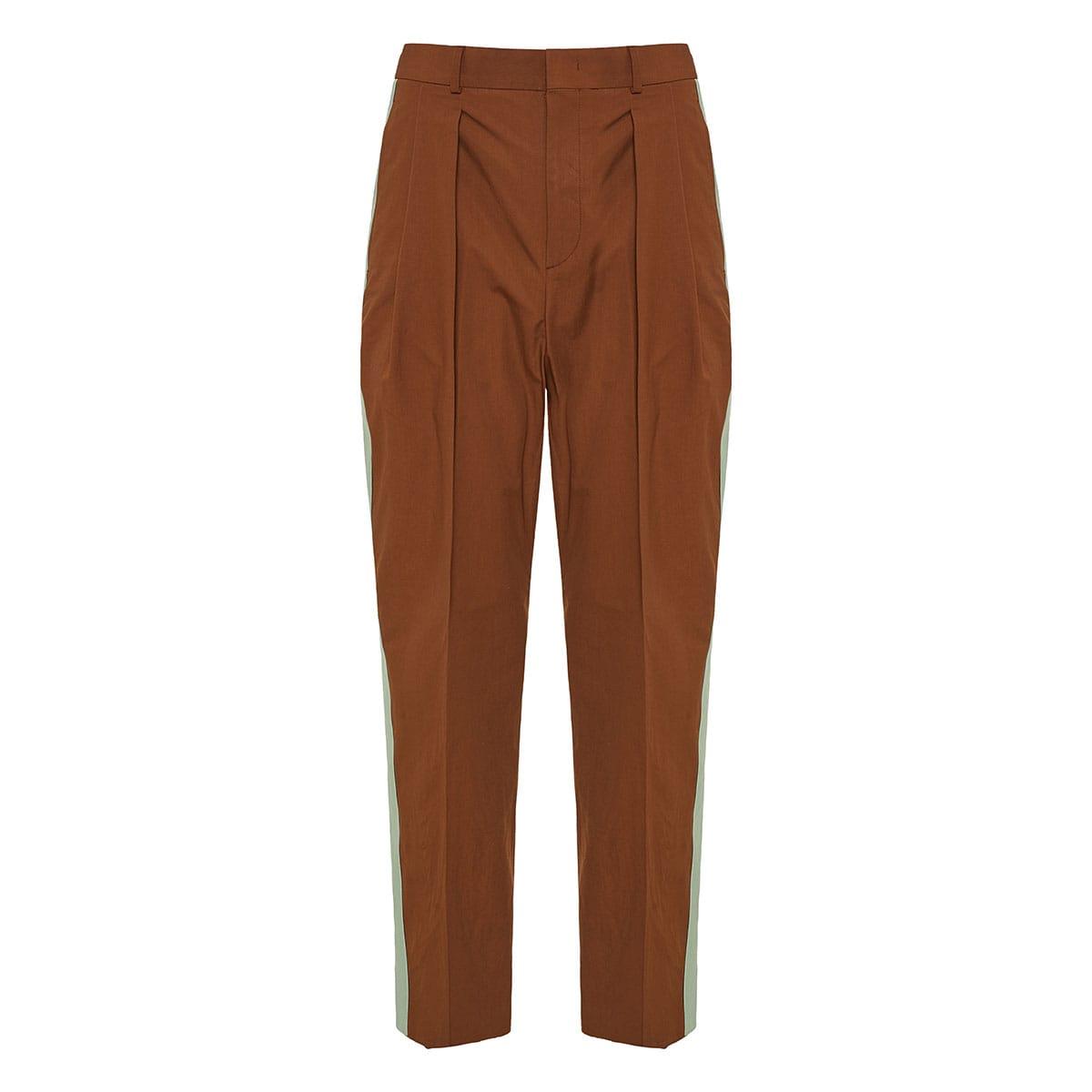 Side-stripe cropped trousers