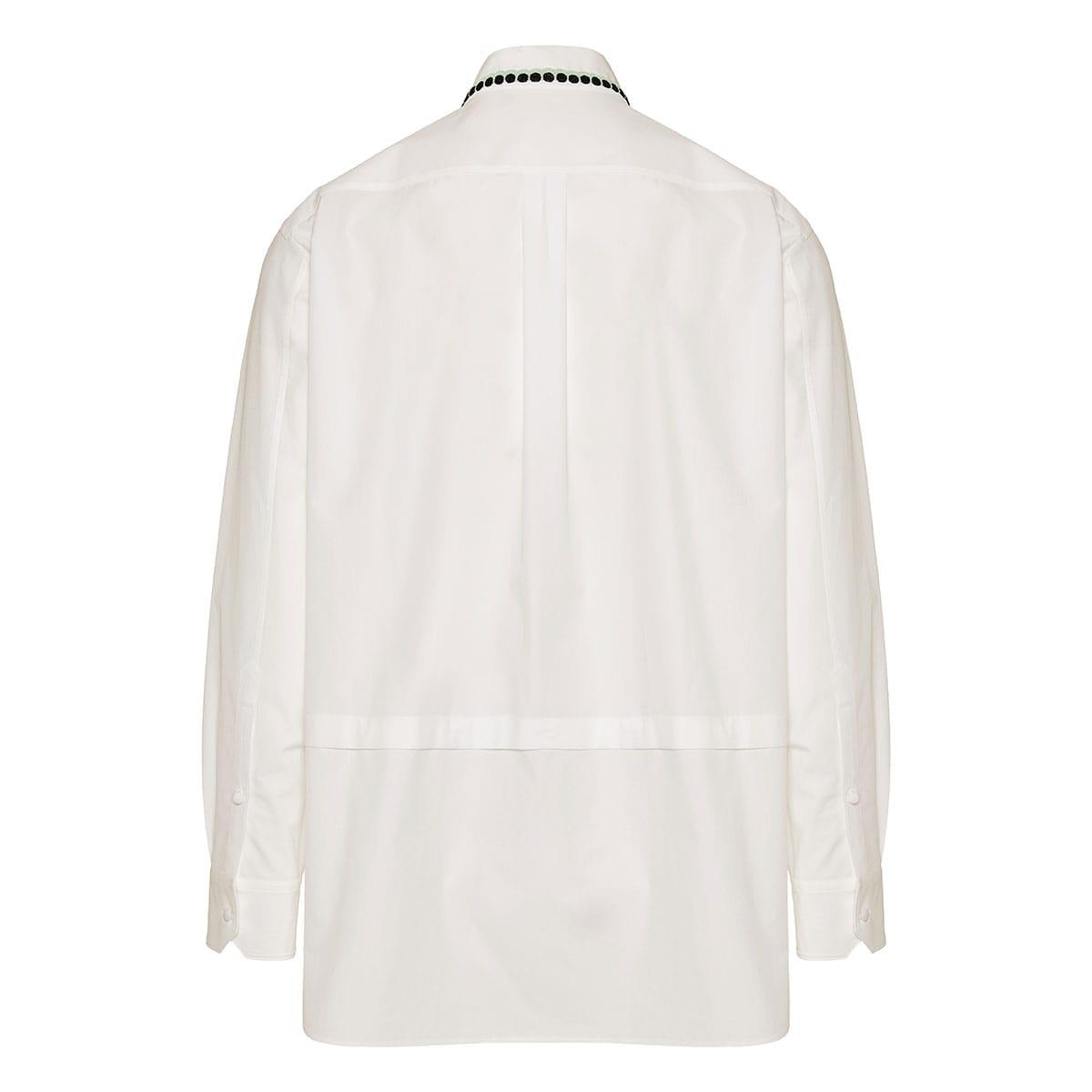 Bead-embellished oversized poplin shirt