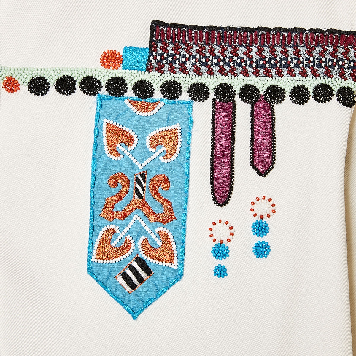 Embroidered overshirt with beads