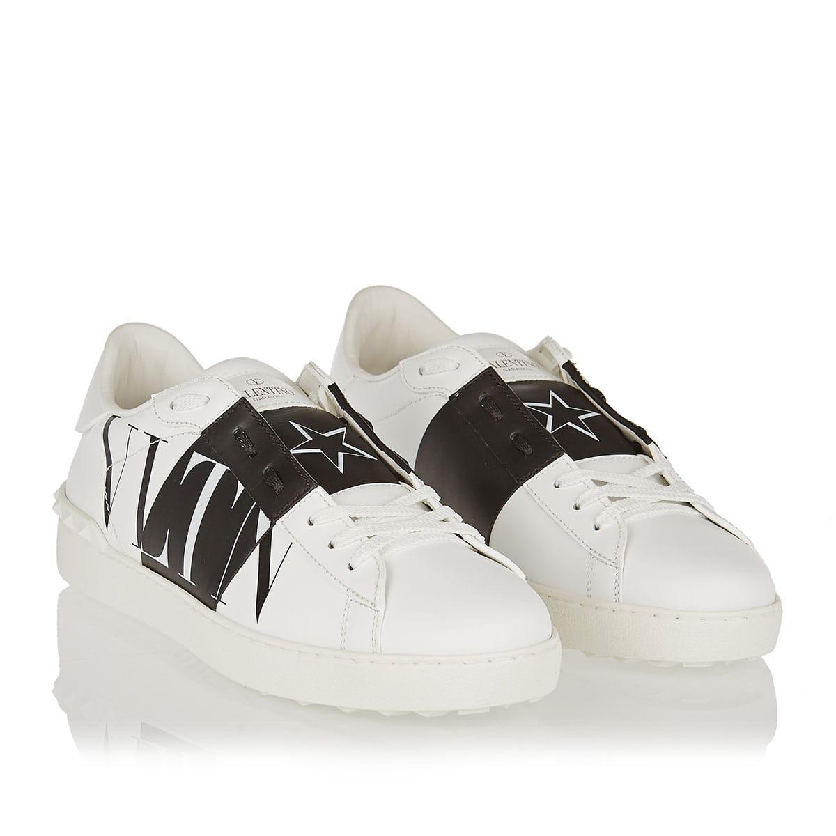 VLTN STAR open leather sneakers