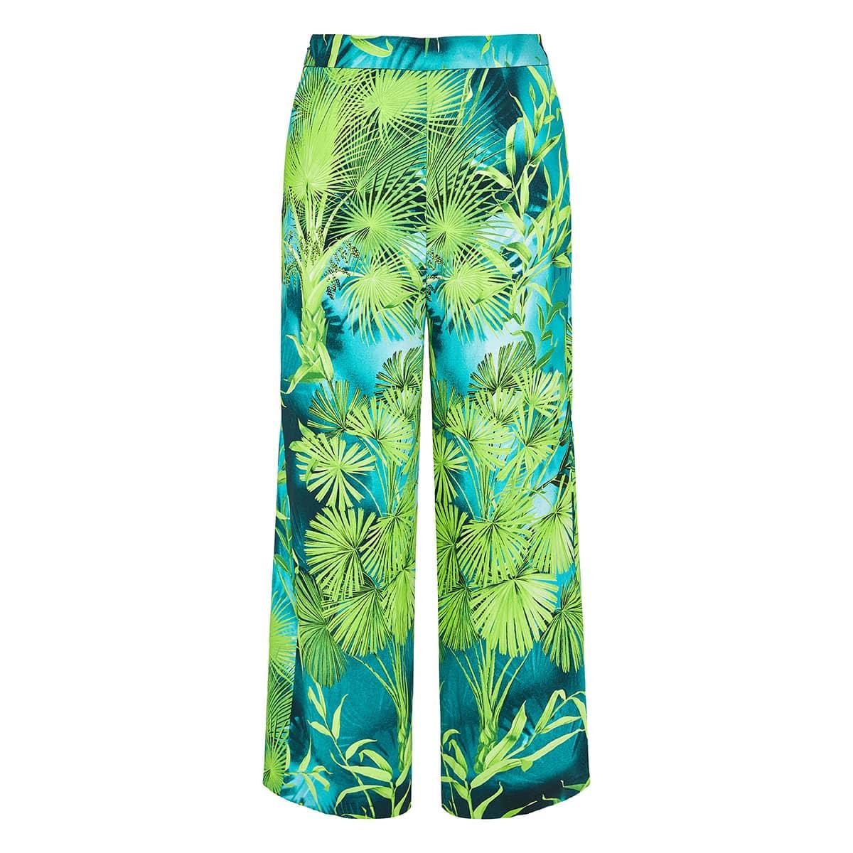 Jungle print wide-leg cropped trousers