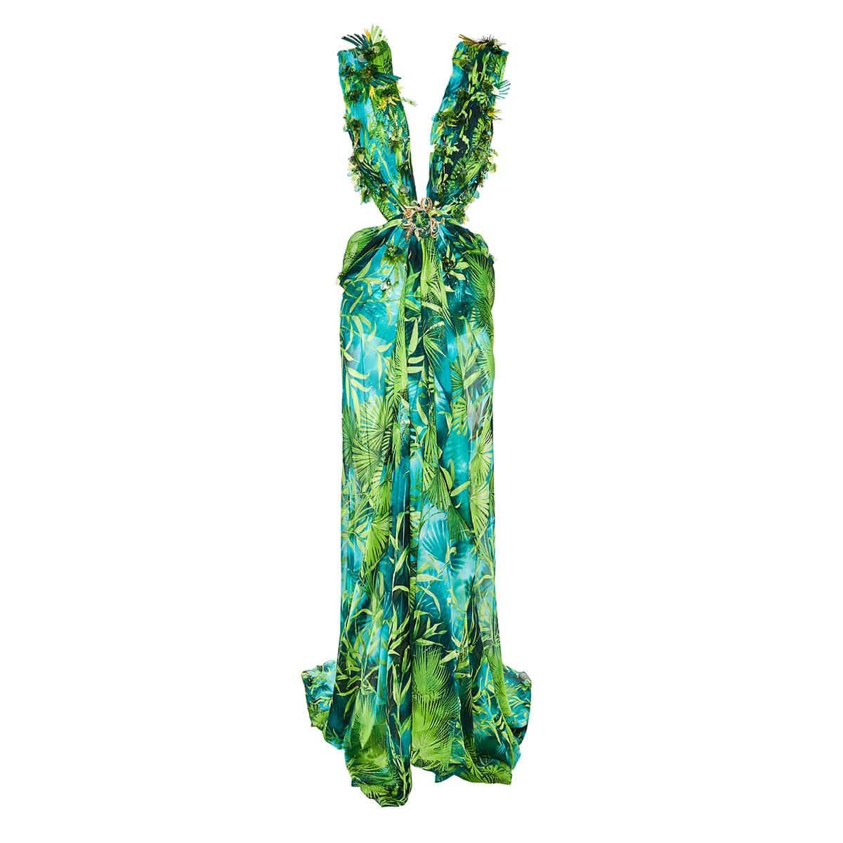 Open-back jungle-print embellished gown