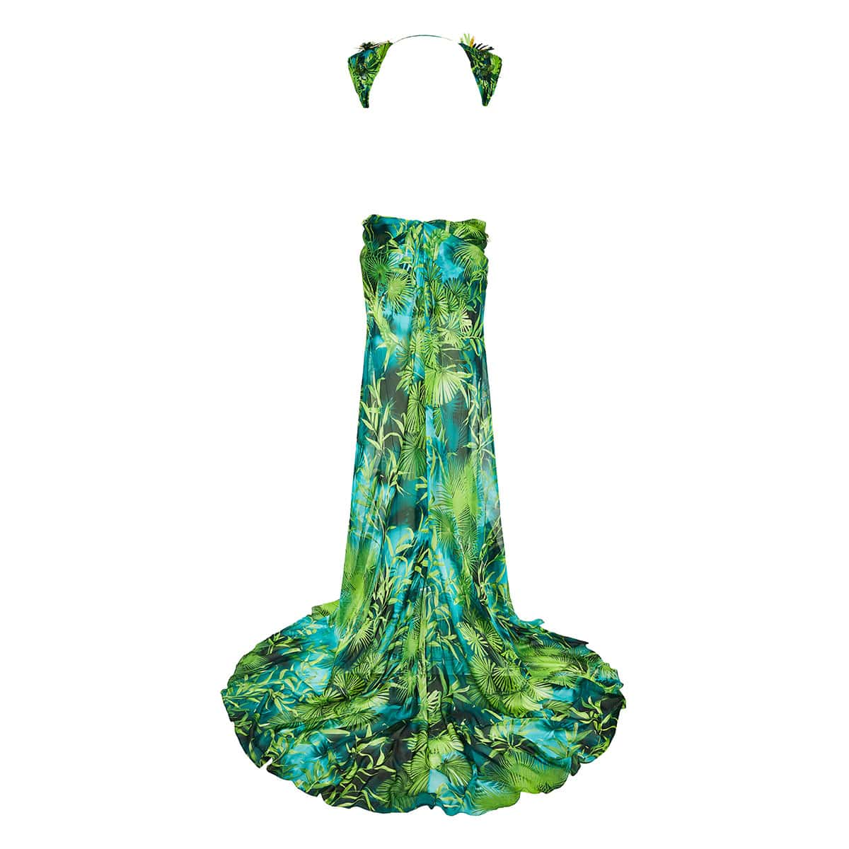 Open-back jungle-print embellished gown