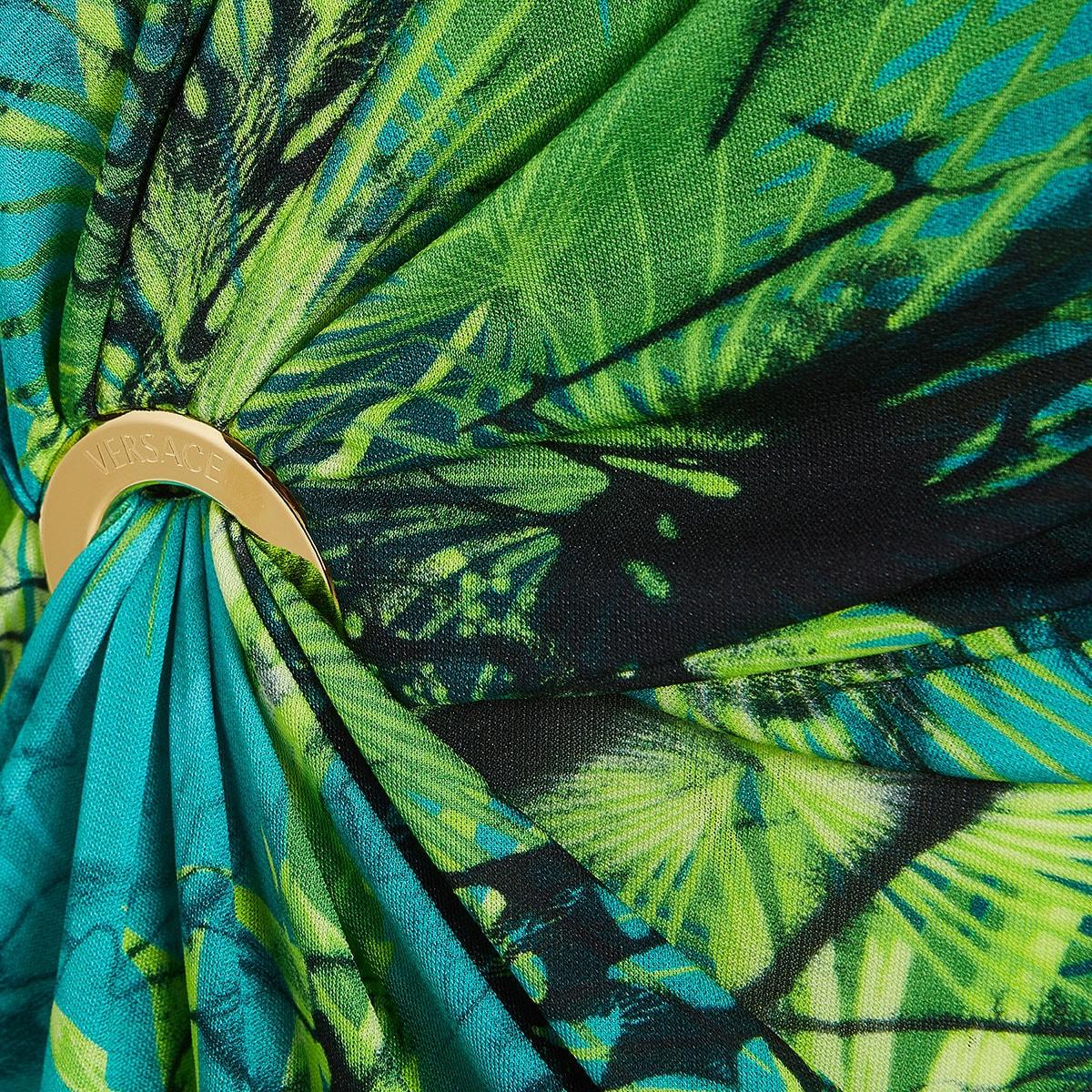 Jungle print cutout gathered midi dress