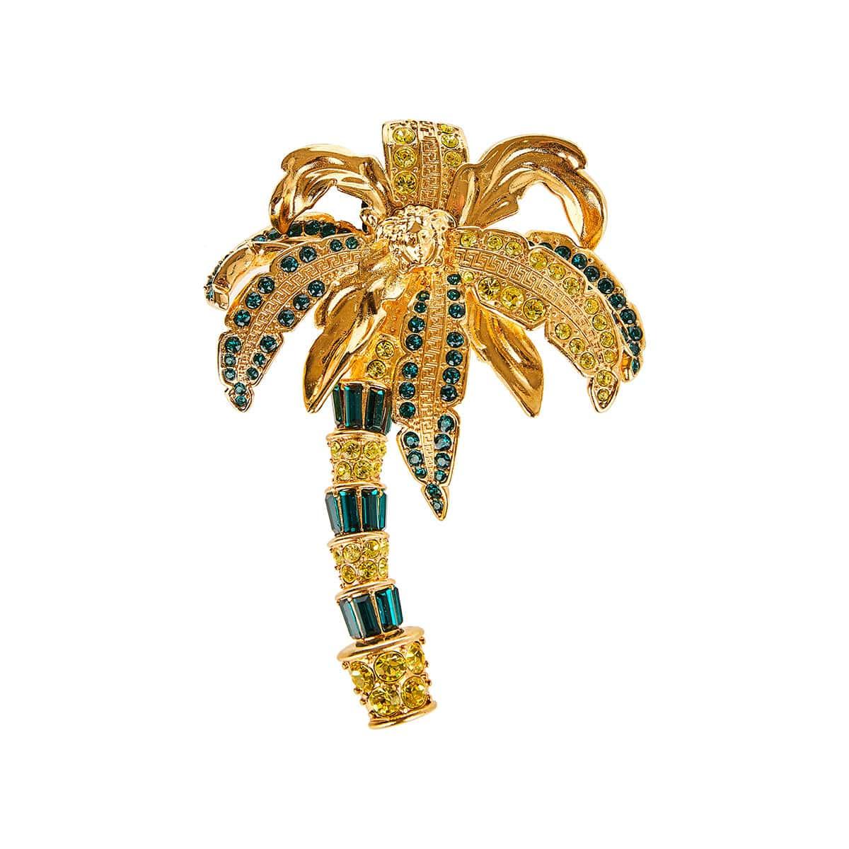 Crystal-embellished palm tree brooch