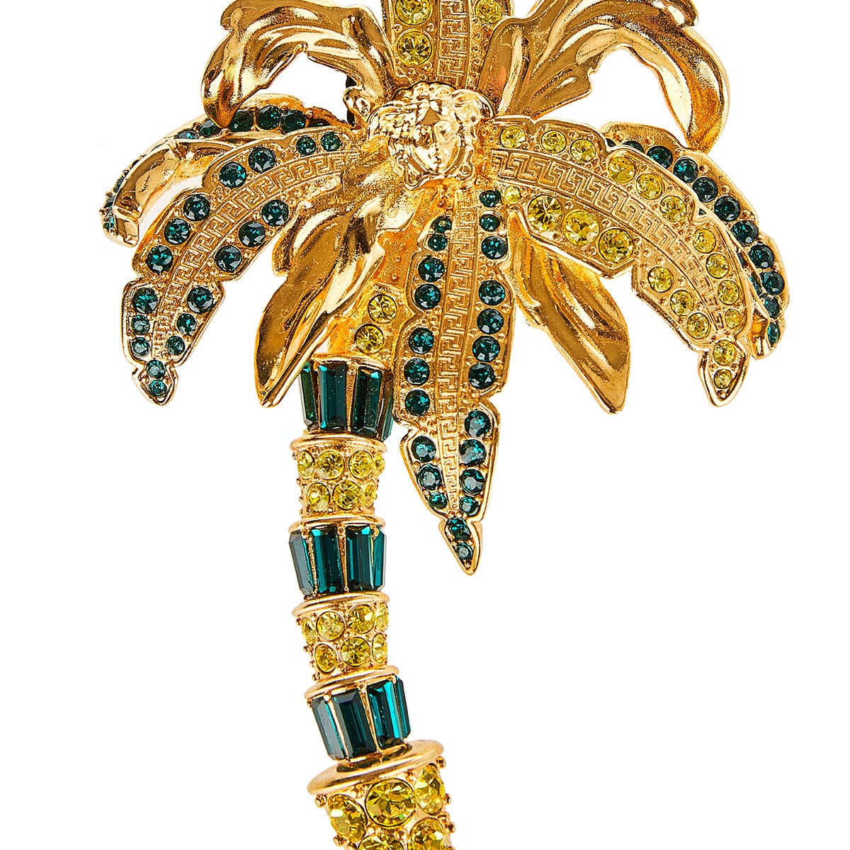 Crystal-embellished palm tree brooch