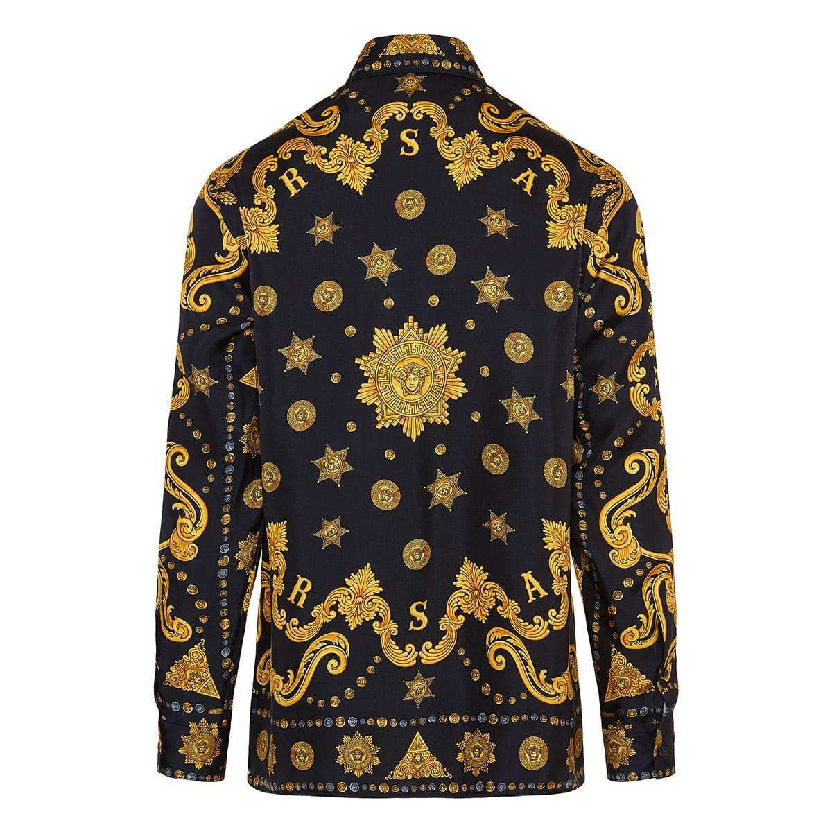 Baroque print oversized silk shirt