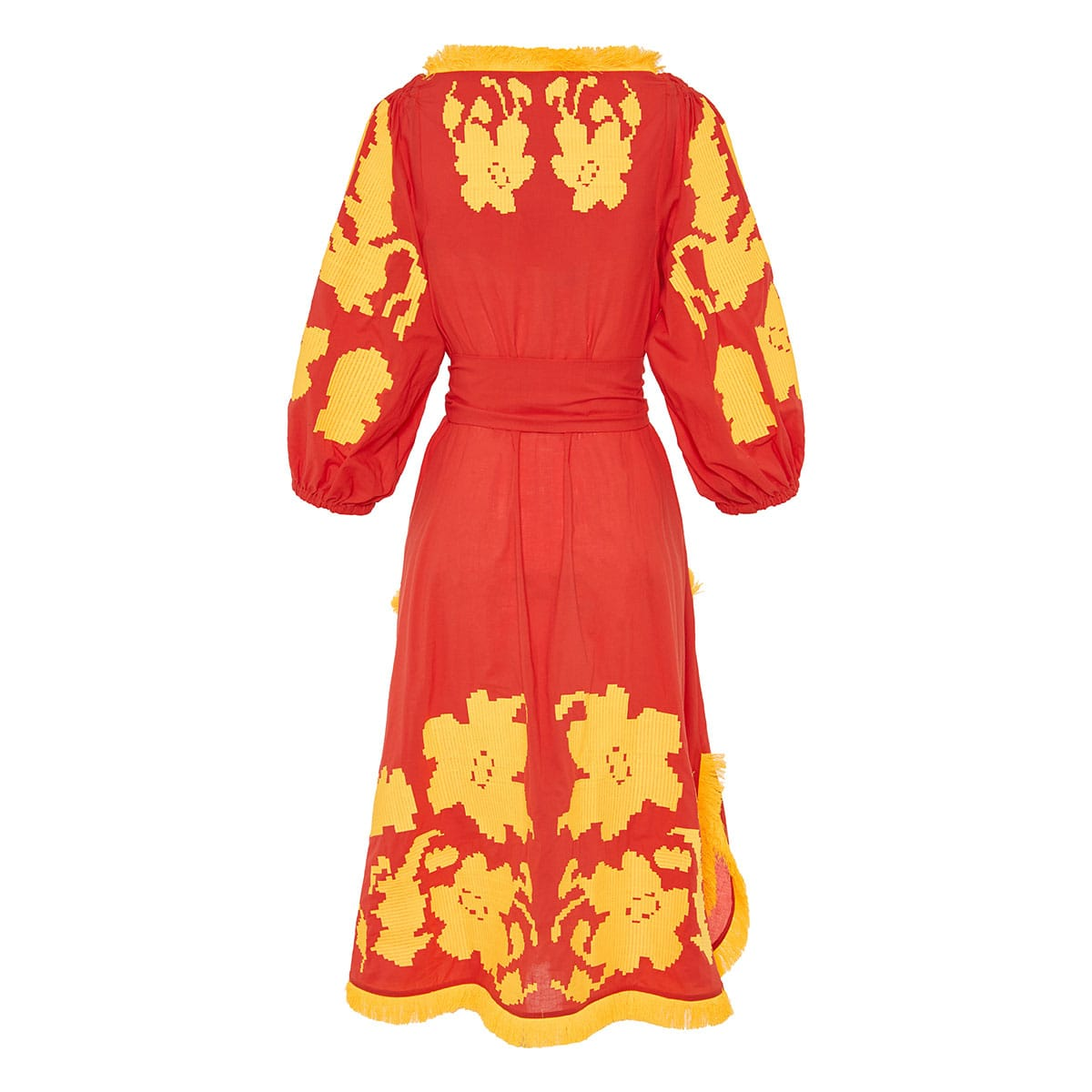Endless summer embroidered fringed midi dress