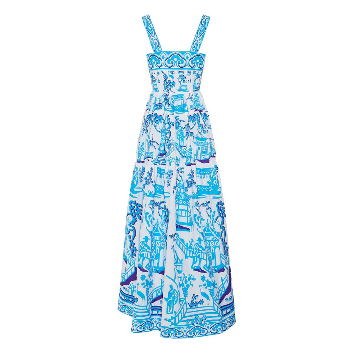 Chinoiserie embroidered long pleated dress