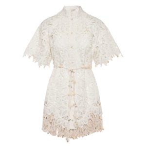 Wavelength shell-embellished lace mini dress