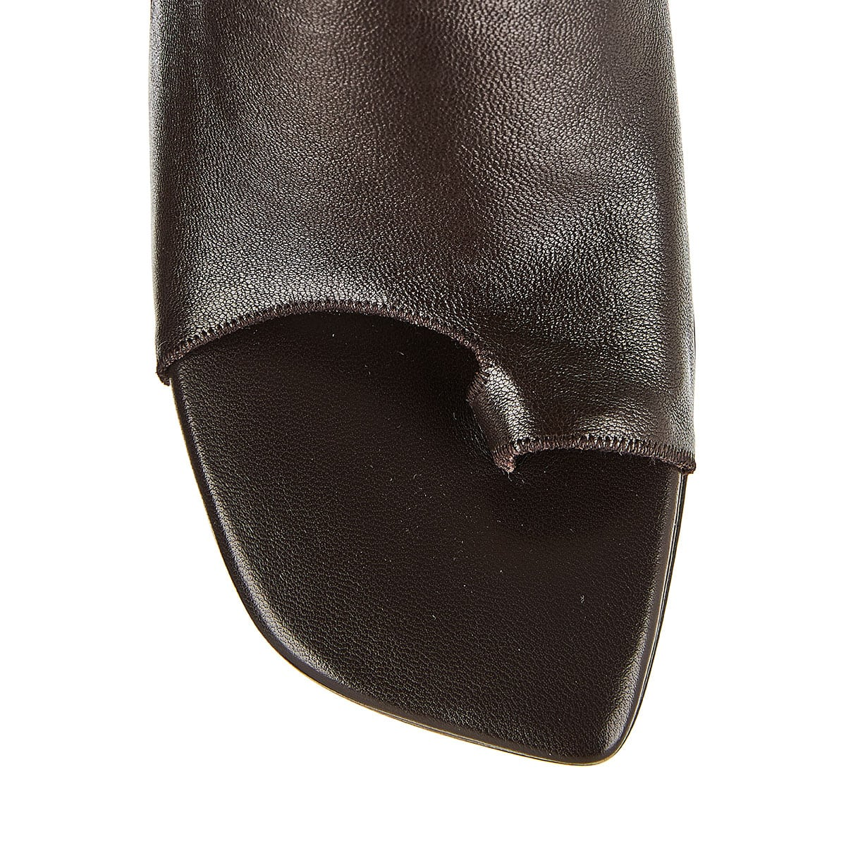 Toe-ring leather mules