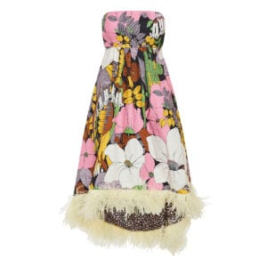 La Scala feather-trimmed floral asymmetric dress