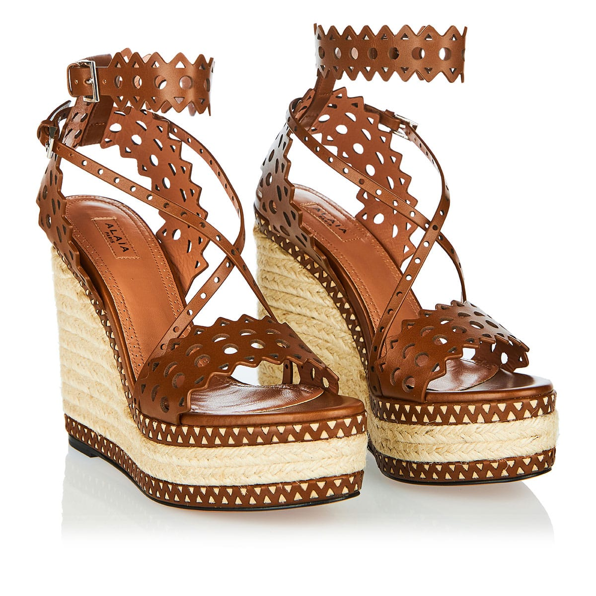Laser-cut leather wedges
