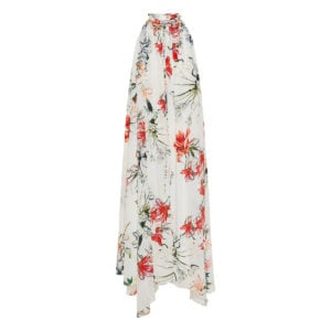 Asymmetric floral pleated dress