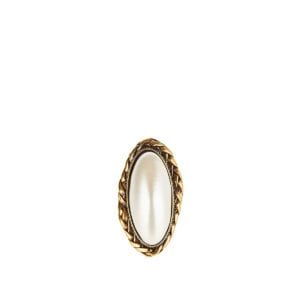 Pearl-stone brass ring
