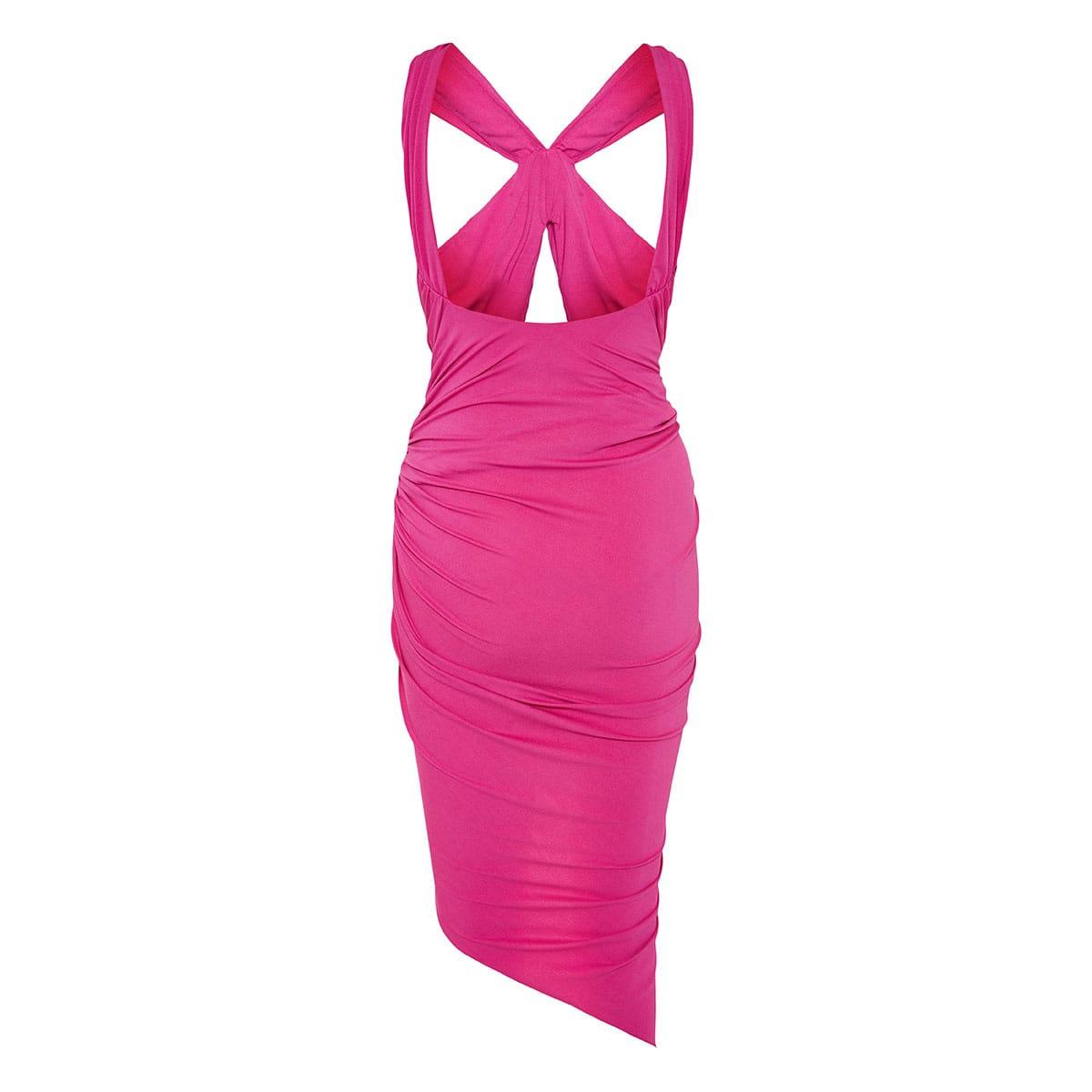 Draped halterneck asymmetric dress