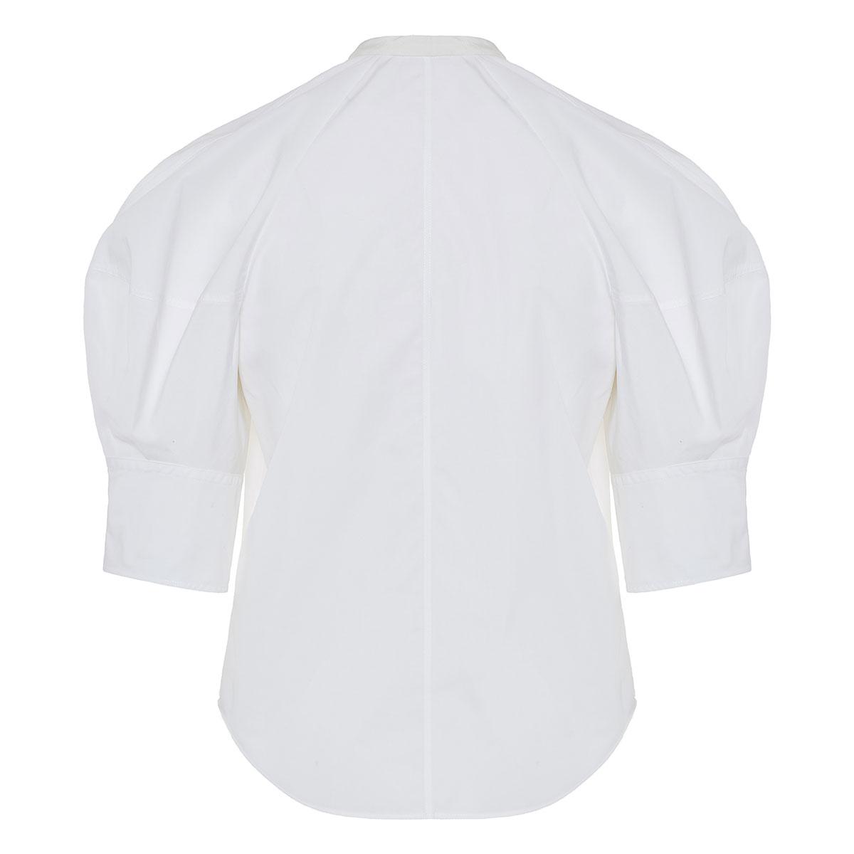 Bow-tie puff-sleeved poplin blouse