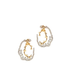 Two-tone crystal-embellished brass earrings