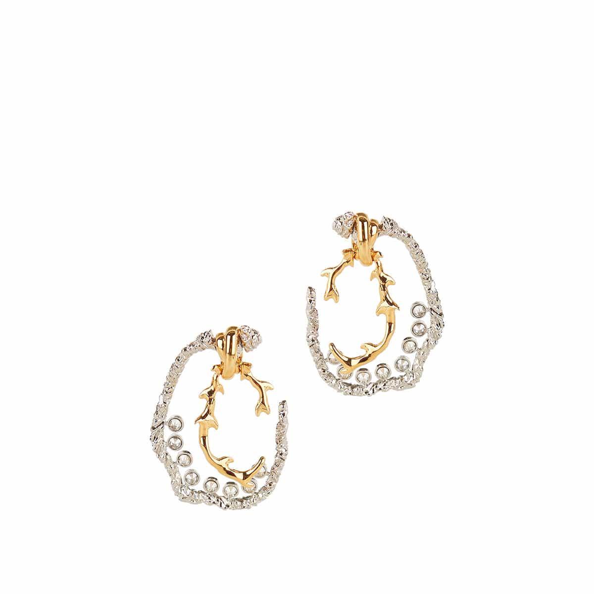 Two-tone crystal-embellished brass earrings