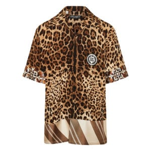 Leopard oversized short-sleeved shirt