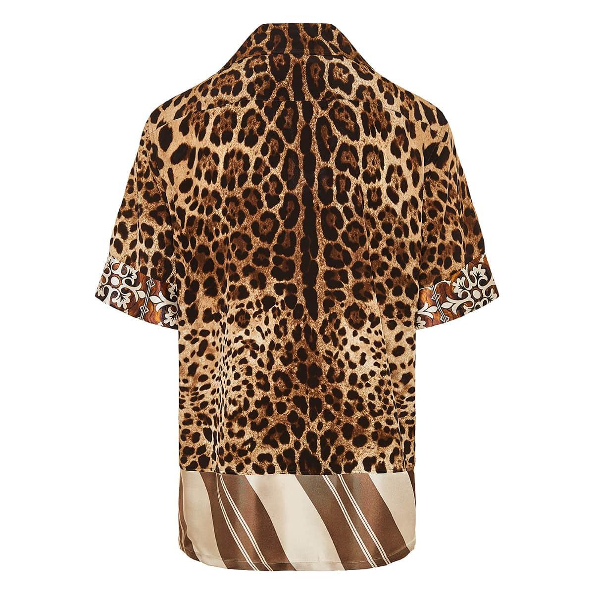 Leopard oversized short-sleeved shirt