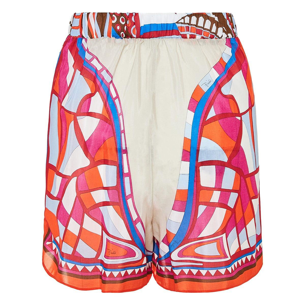 Corisco print layered knotted shorts