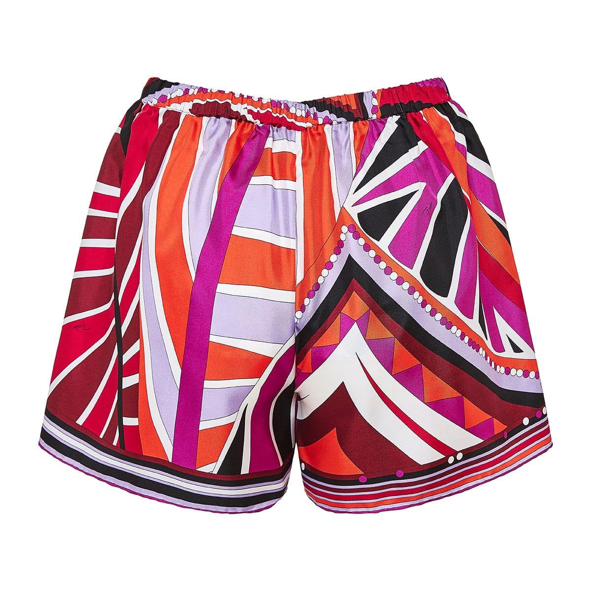 Graphic print silk mini shorts