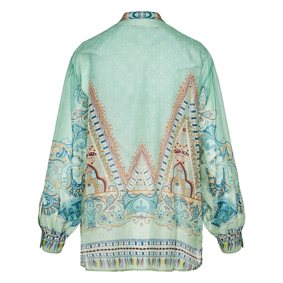 Paisley print oversized chiffon shirt