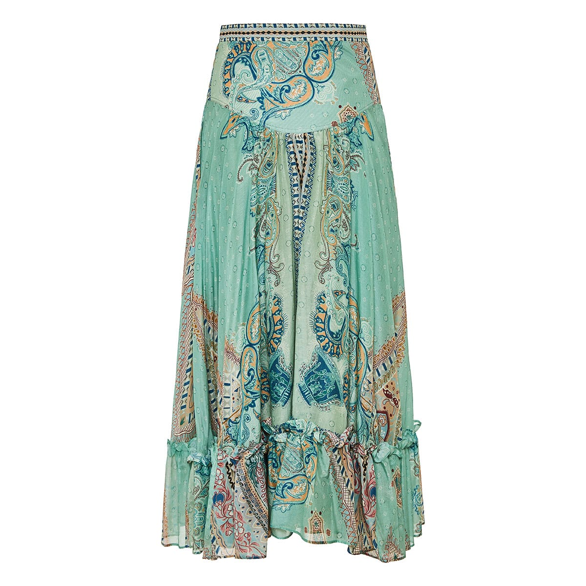 Flared printed midi skirt