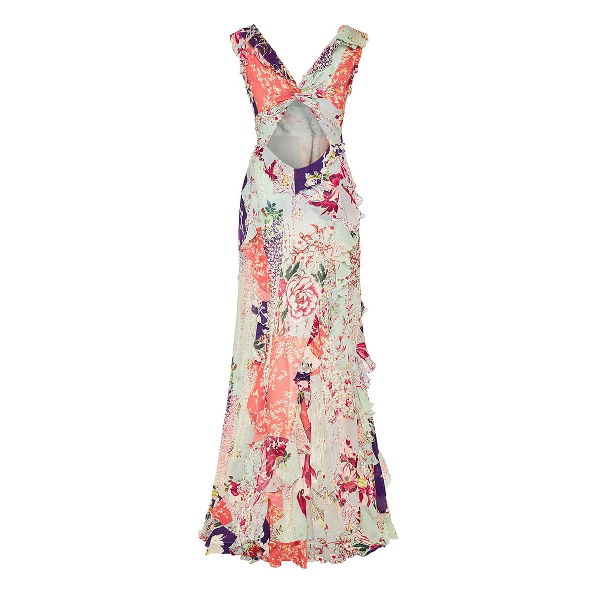 Patchwork print long ruffled dress
